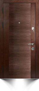 Стильная бронедверь светло-коричневого цвета с декоративной вставкой