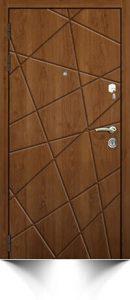 Стильная бронедверь светло-коричневого цвета в современном дизайне