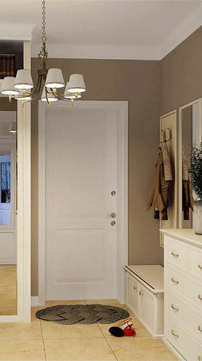 Входная дверь белого цвета, вид из комнаты