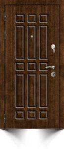 Бронедверь коричневого цвета с декоративными элементами