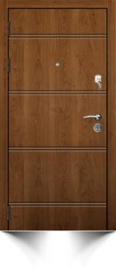 Бронедверь коричневого цвета с декоративными горизонтальными полосами