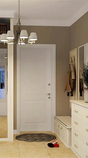 входная дверь белого цвета в интерьере квартиры